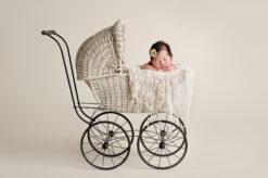 Maple Valley Newborn girl cream vintage baby carriage