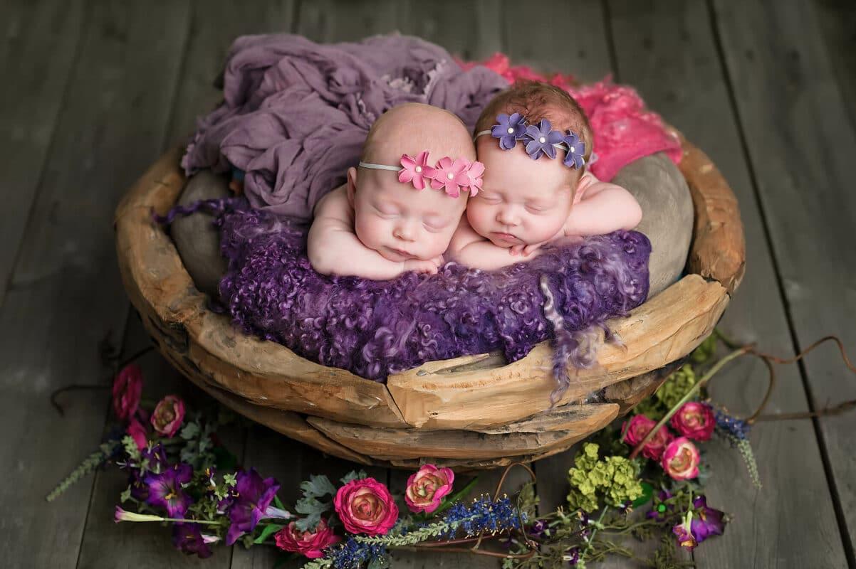 Newborn Twins in bowl Tacoma Photographer Eden Bao