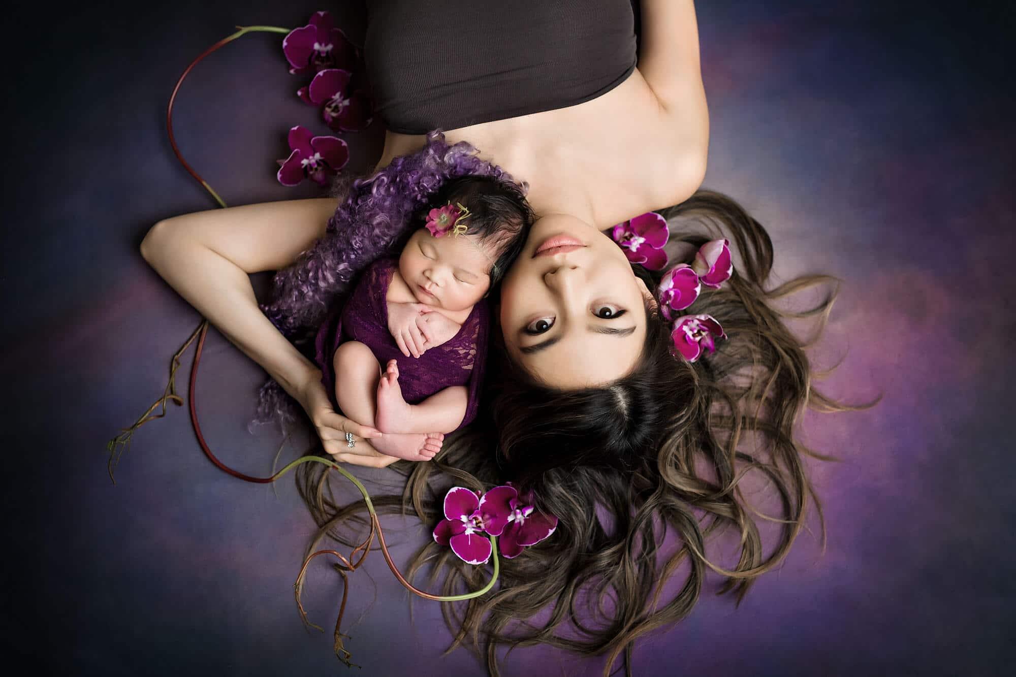Seattle Newborn Photographer Mom Newborn Magenta Orchids