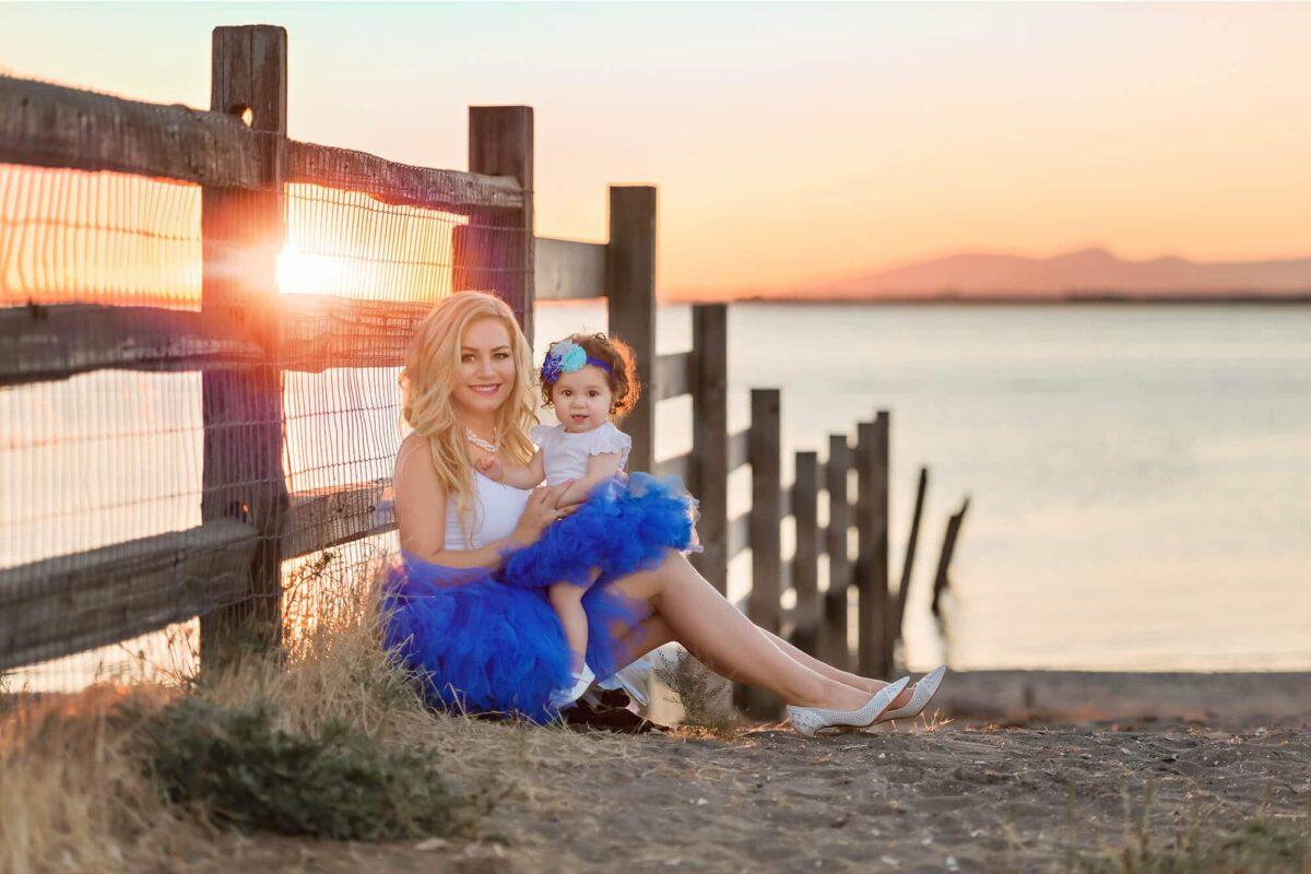 Blackie Spit Beach Mom Baby Portrait