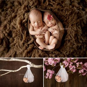 Richmond BC Newborn Photographer Eden Bao | Twins boy girl brown rug hanging tree branch