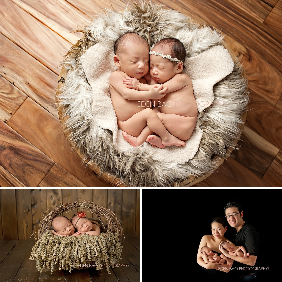 Richmond BC Newborn Photographer Eden Bao | Twins boy girl hardwood