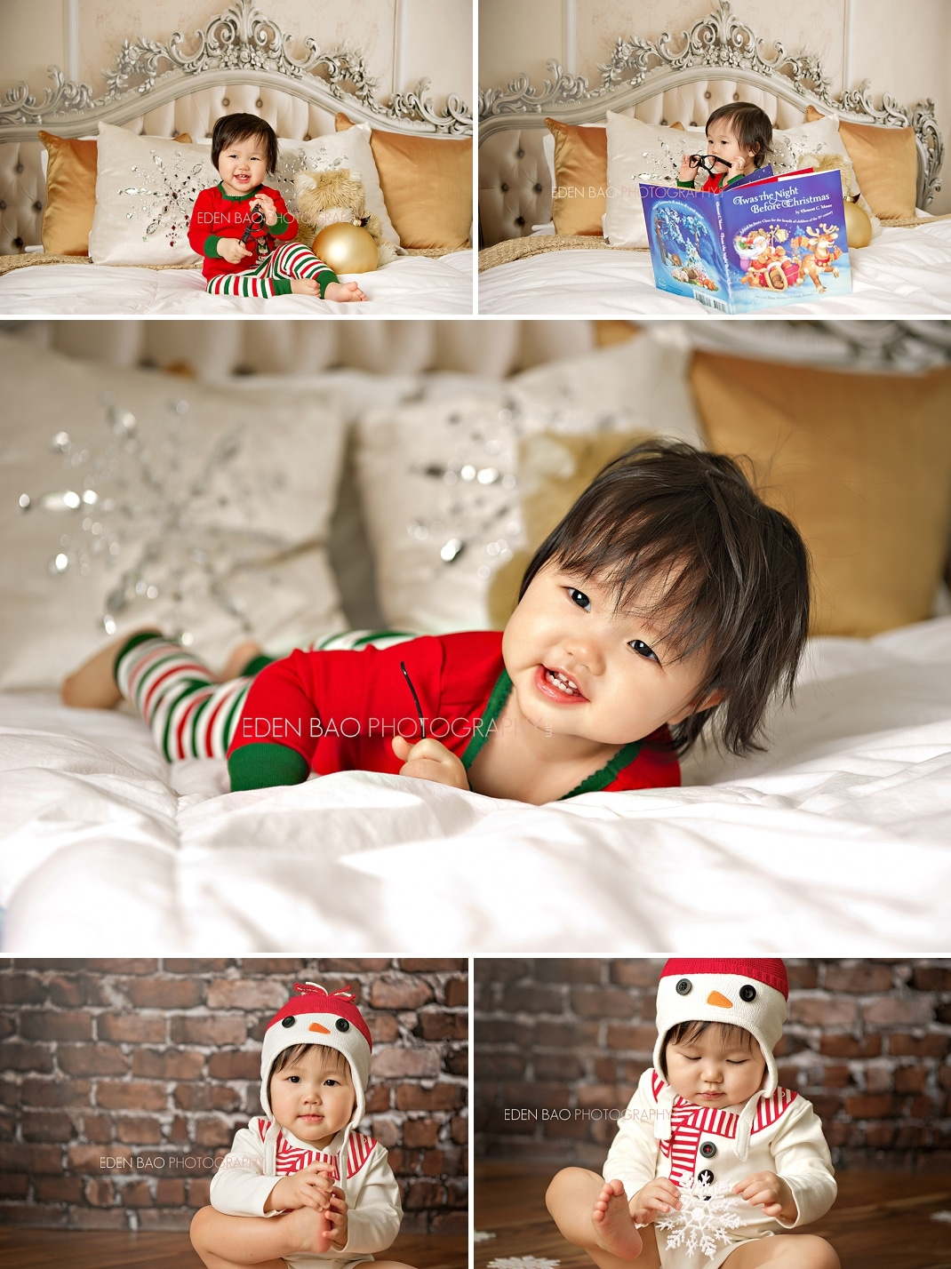 Vancouver BC Baby Photographer Eden Bao Baby Christmas holiday gold pillows red brick walls ornaments