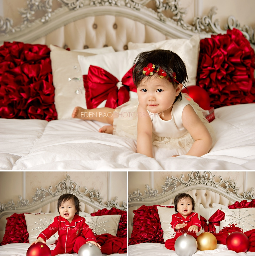 Vancouver bc baby photographer eden bao baby christmas holiday red pillows