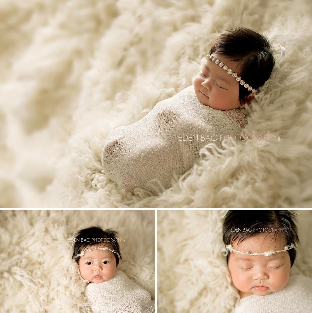Burnaby BC Newborn Photographer Eden Bao | Mikayla white cream flokati shaggy rug