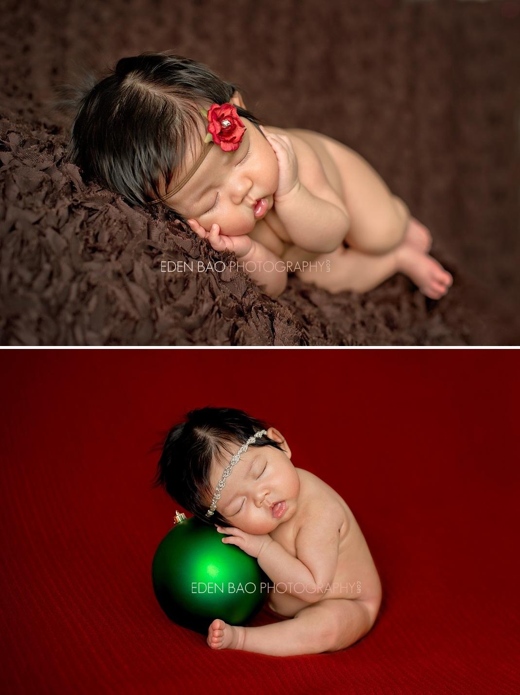 Burnaby BC Newborn Photographer Eden Bao | Mikayla brown red rose headband christmas ornament red