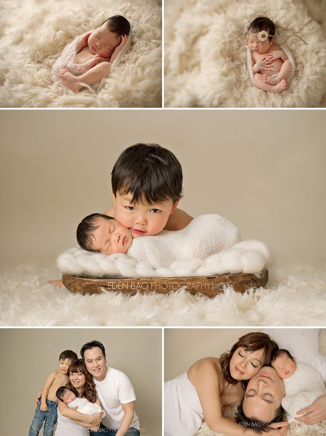 Port Moody Newborn Photographer Eden Bao | Newborn girl flokati fluffy rug family sibling