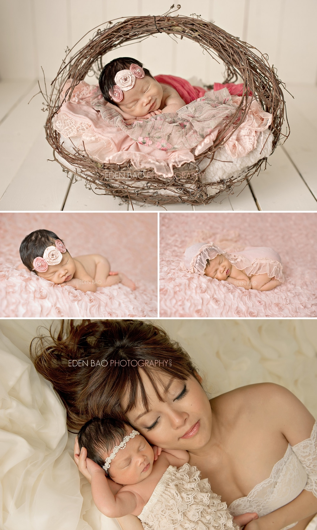 Port Moody Newborn Photographer Eden Bao | Newborn girl wicker basket pink blanket mom baby glamour