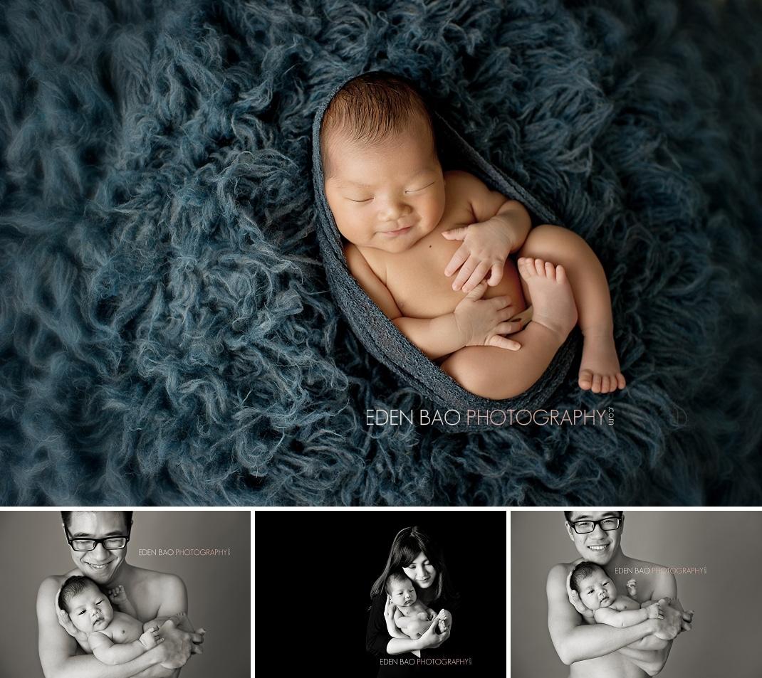 Vancouver BC Newborn Photographer Eden Bao   baby boy denim blue flokati parent newborn