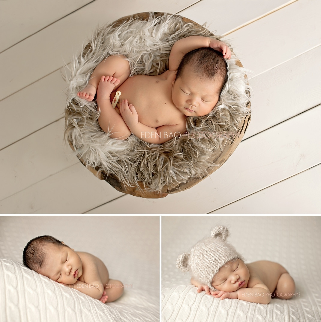 Vancouver bc newborn photographer eden bao baby boy in nest white wood cream blanket