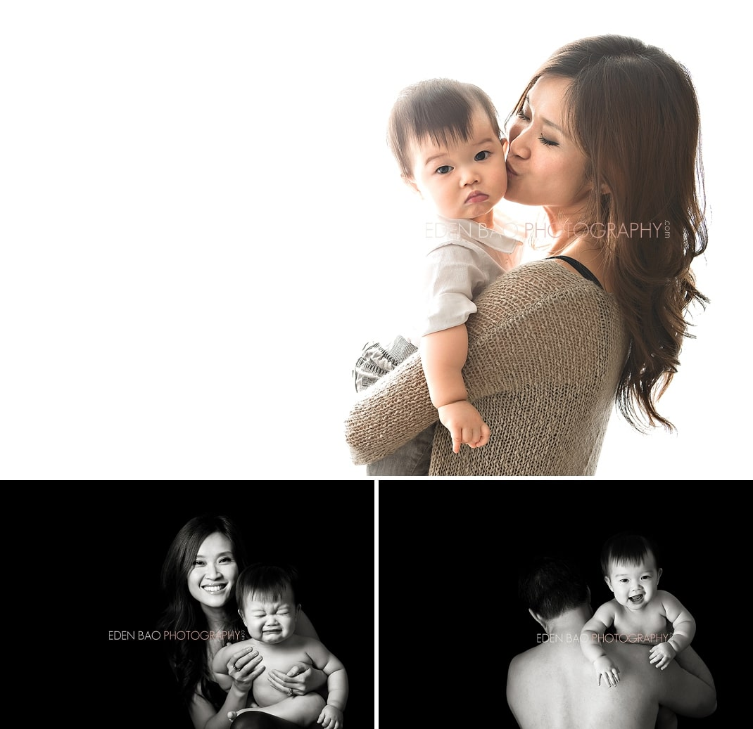 Vancouver BC Baby Photographer Eden Bao   Marcus with mom dad white background black and white