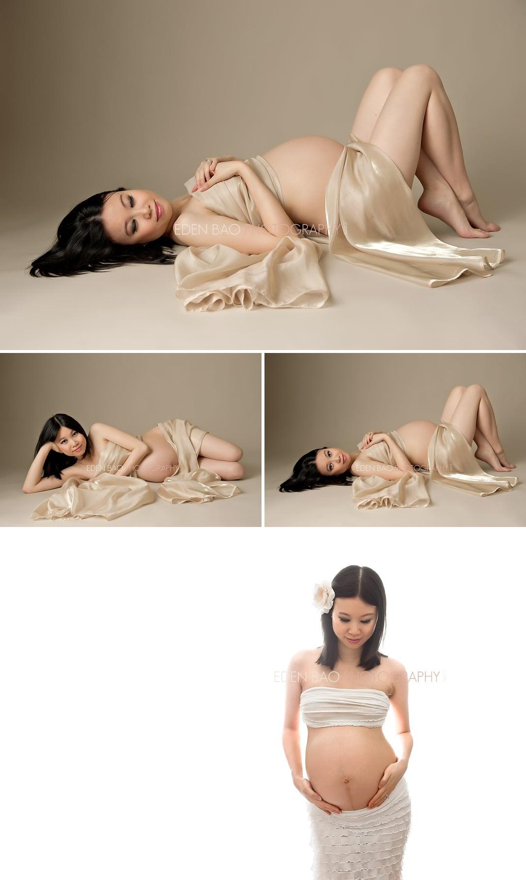 Vancouver BC Maternity Photographer Eden Bao | Corina gold chameuse wrap white backdrop
