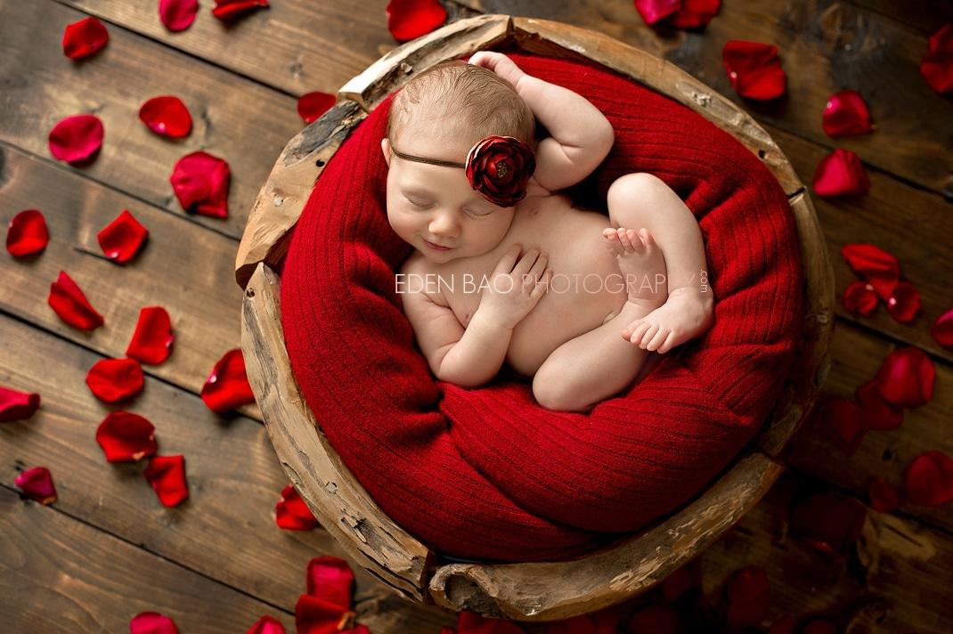 Delta BC Newborn Photographer Eden Bao Ariana  red rose petals wooden bowl floor
