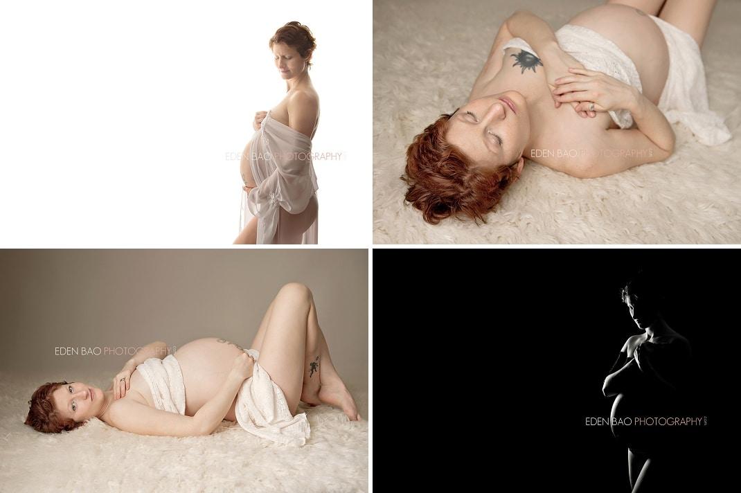 Vancouver BC Maternity Photographer Eden Bao   Allison white black neutral backgroun