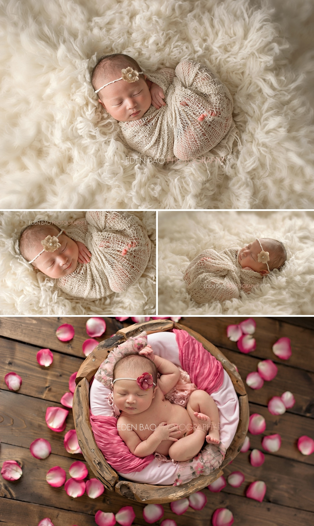 Vancouver Surrey Richmond Burnaby BC Newborn Photographer Eden Bao   Natalie natural cream flokati shaggy rug pink fuschia rose petals wood backdrop