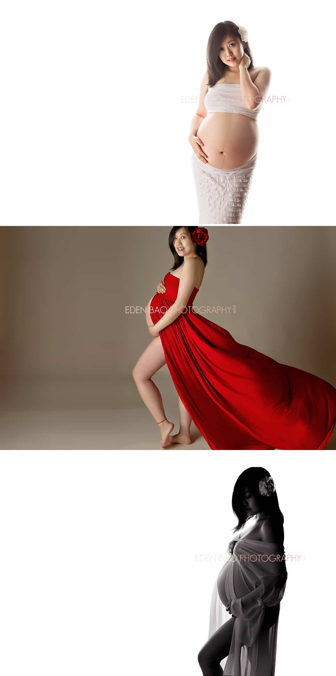 Burnaby BC Best Maternity Photographer Eden Bao | Red flowy gown silhouette pregnant white