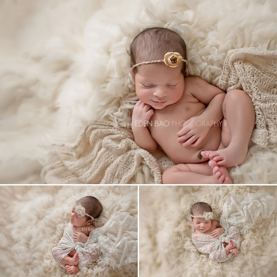 Vancouver BC Newborn Photographer Eden Bao   Aarya cream flokati shaggy rug organic neutral