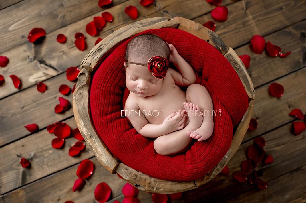 Vancouver BC Newborn Photographer Eden Bao   Aarya red petal wooden bowl wood floors
