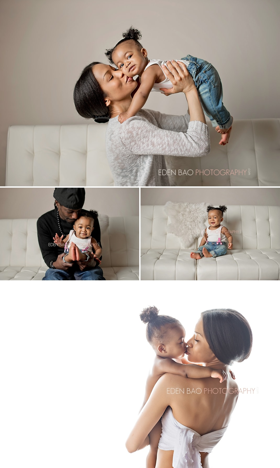 Vancouver BC Baby Photographer Eden Bao   black mom and baby ivory cream leather sofa white backdrop