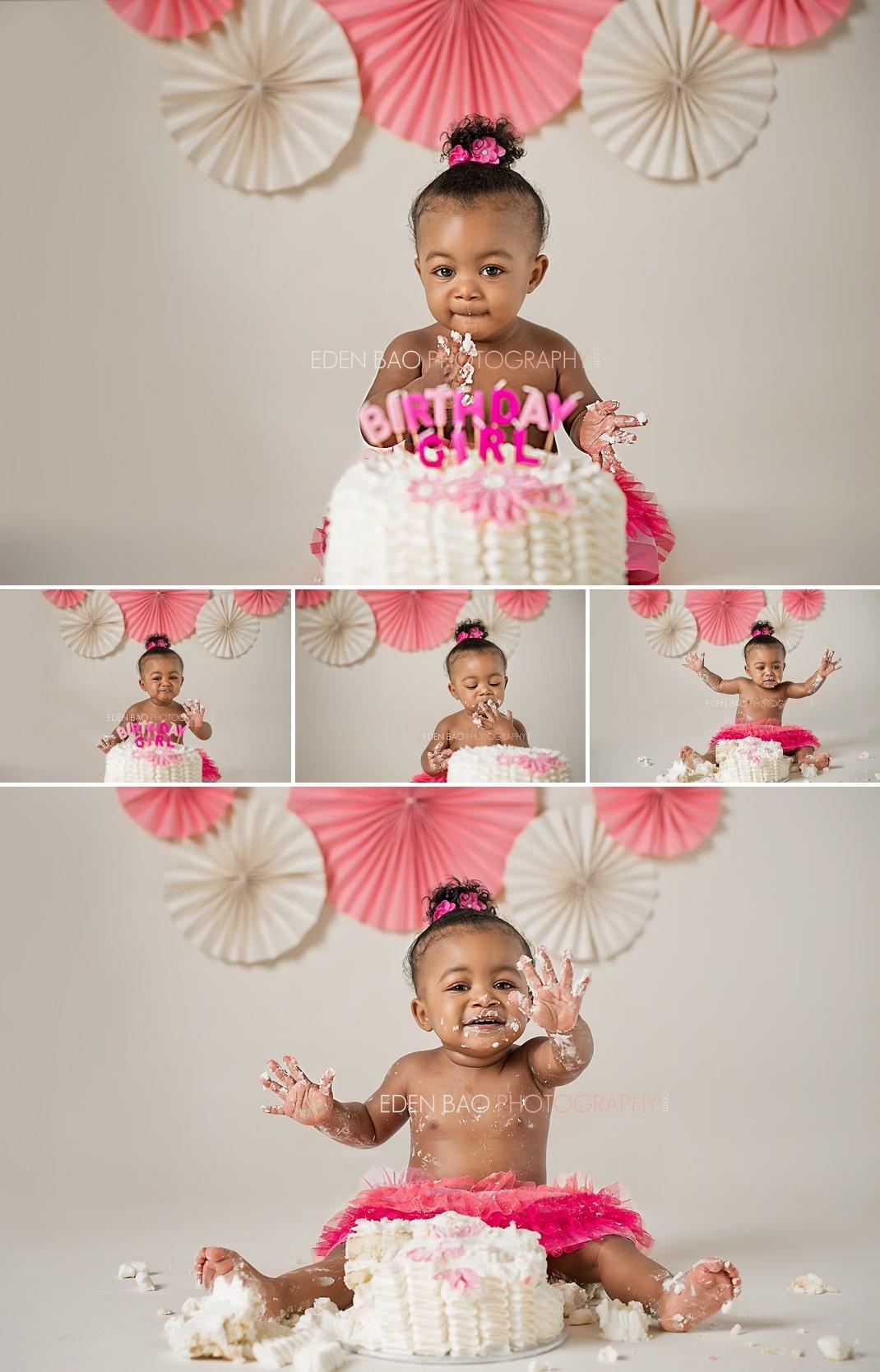 Vancouver BC Baby Photographer Eden Bao   Indianna pink cream paper fan backdrop smashcake