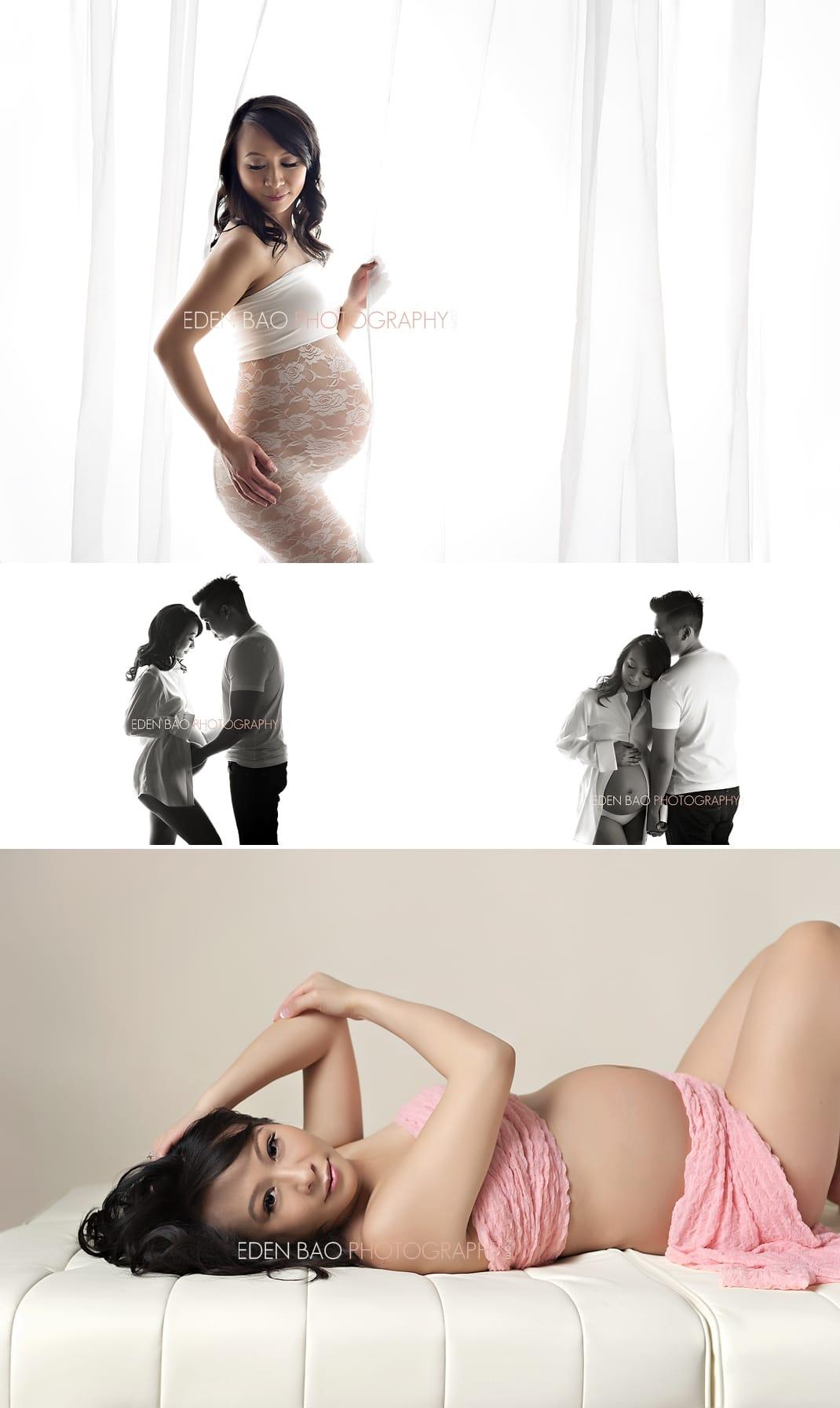 Vancouver BC Maternity Photographer Eden Bao | high key white background cream white shirt