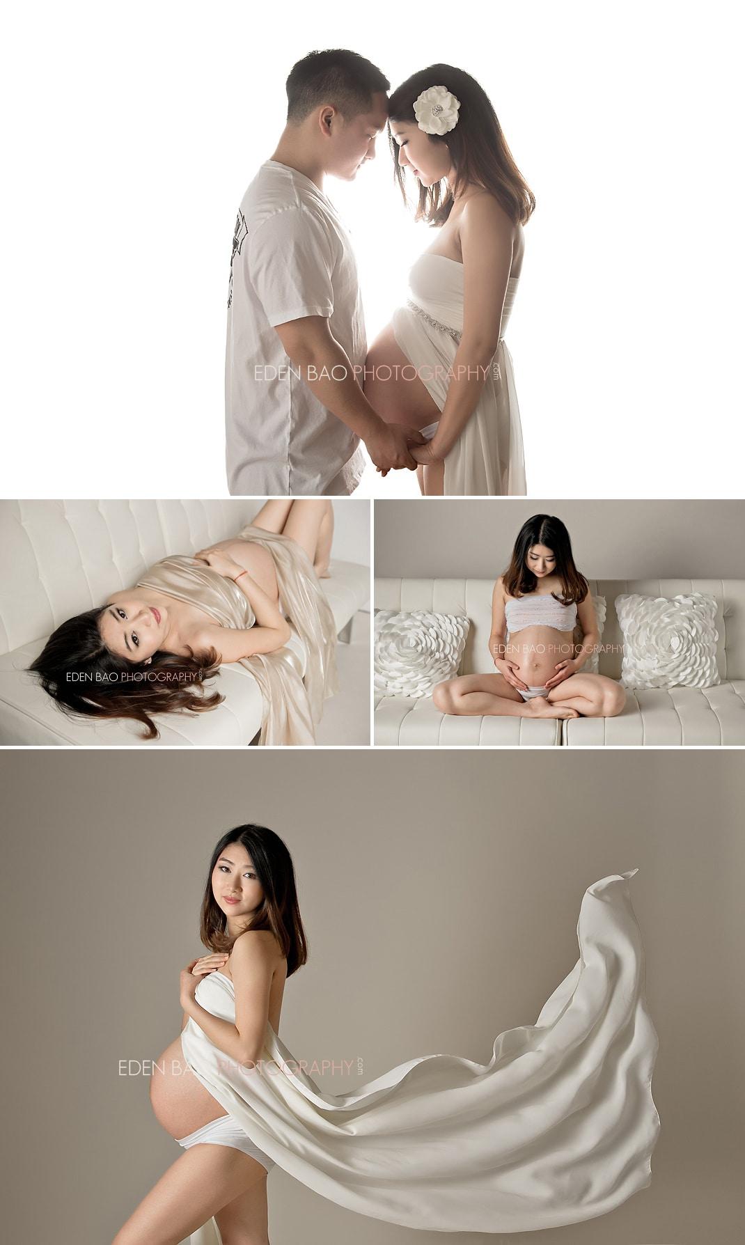 Richmond BC Maternity Photographer Eden Bao   white background neutral flowing cream fabric