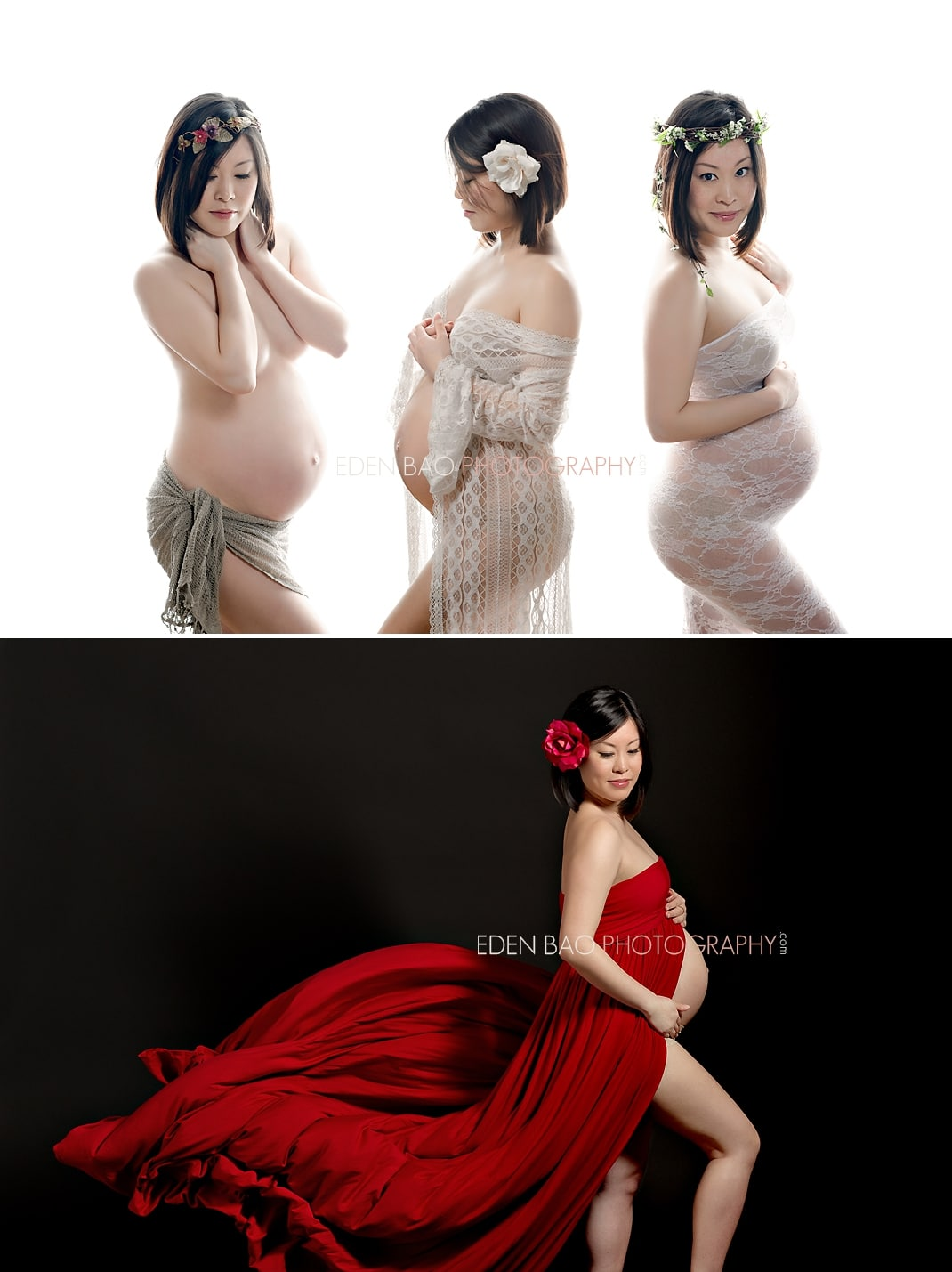 Vancouver BC Maternity Photographer Eden Bao   white backdrop red dress flowing