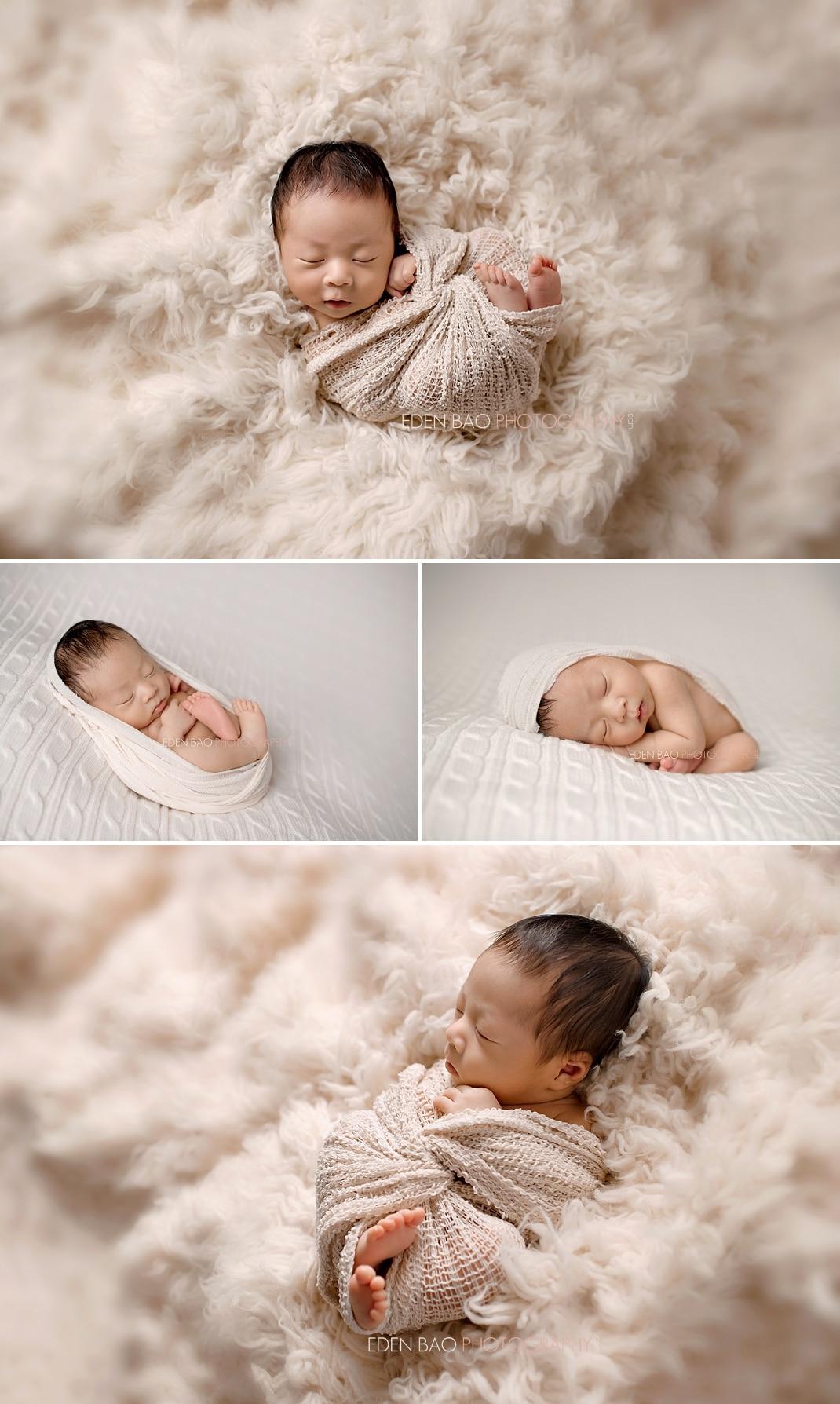 Vancouver BC Newborn Photographer Eden Bao Bennett cream backdrop