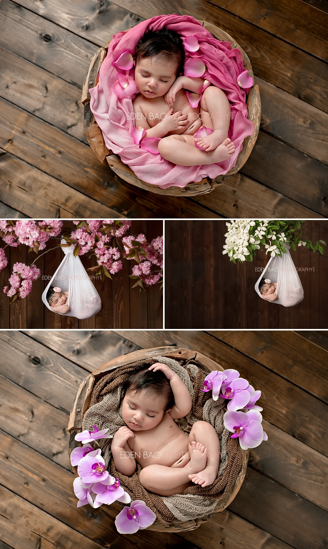 Richmond BC Newborn Photographer Eden Bao | Zara wooden bowl hanging from cherry blossom  white dogwood branch