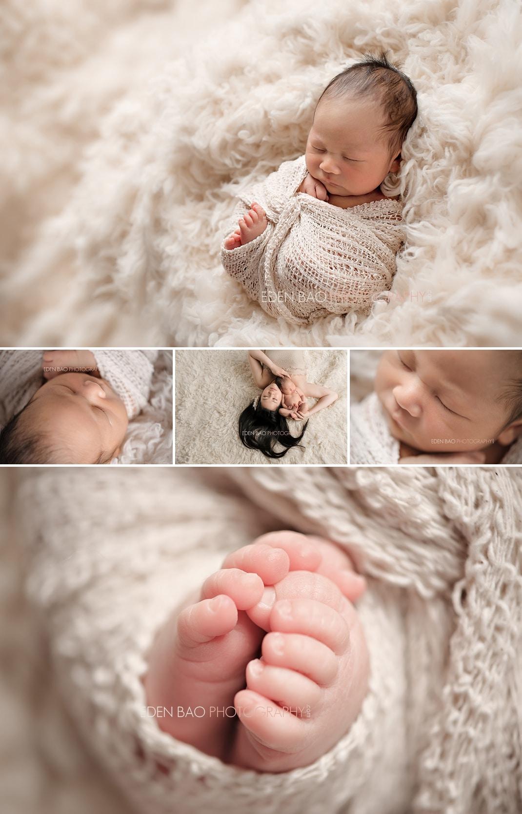 Vancouver BC Newborn Photographer Eden Bao | Newborn boy cream tone shaggy flokati rug