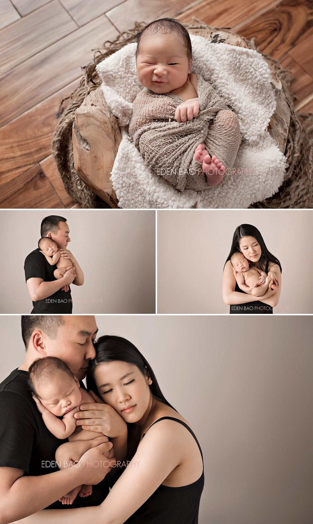 Vancouver BC Newborn Photographer Eden Bao | Newborn boy acacia hardwood floor parent-baby  family