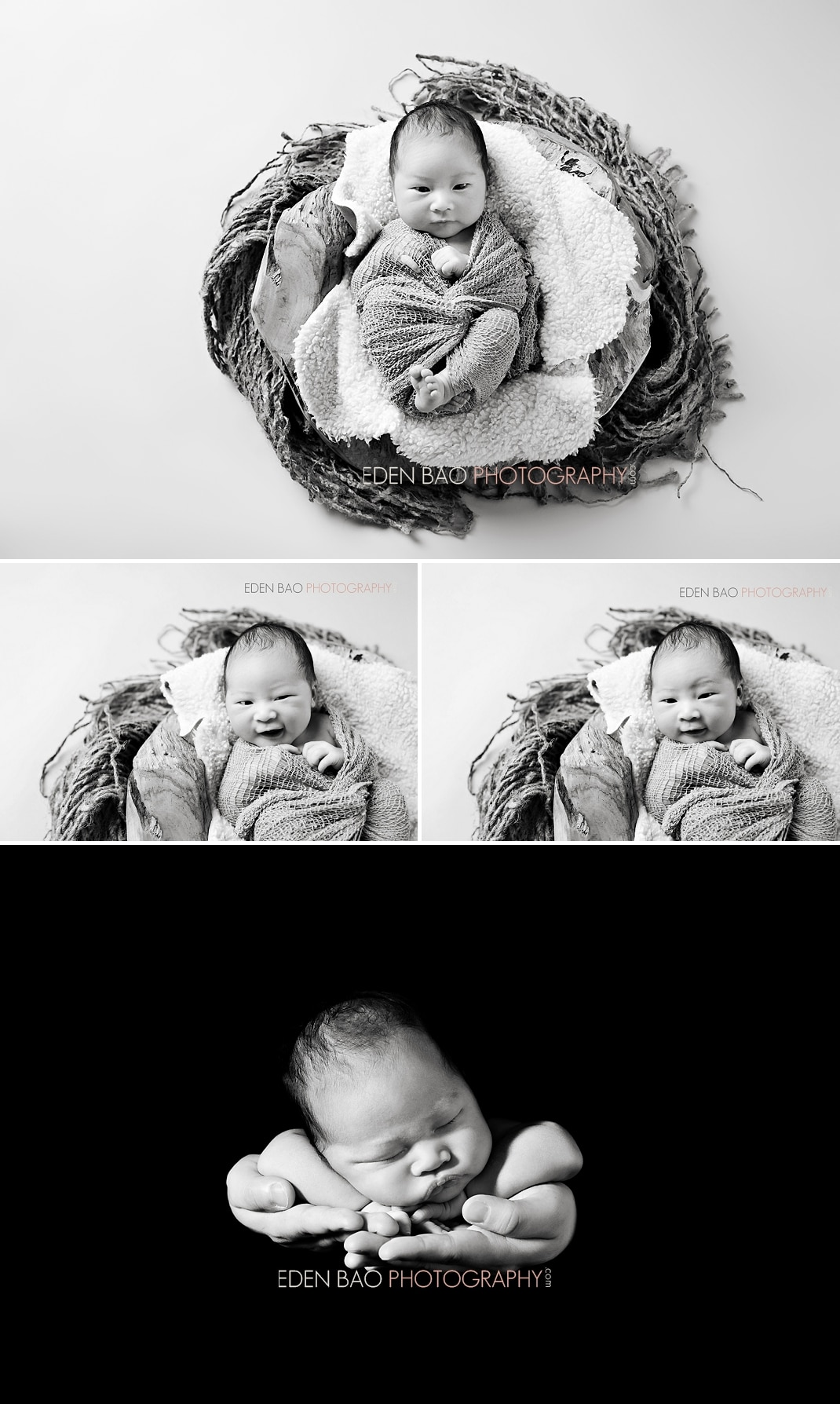 Vancouver BC Newborn Photographer Eden Bao | Newborn boy black and white abstract in hand