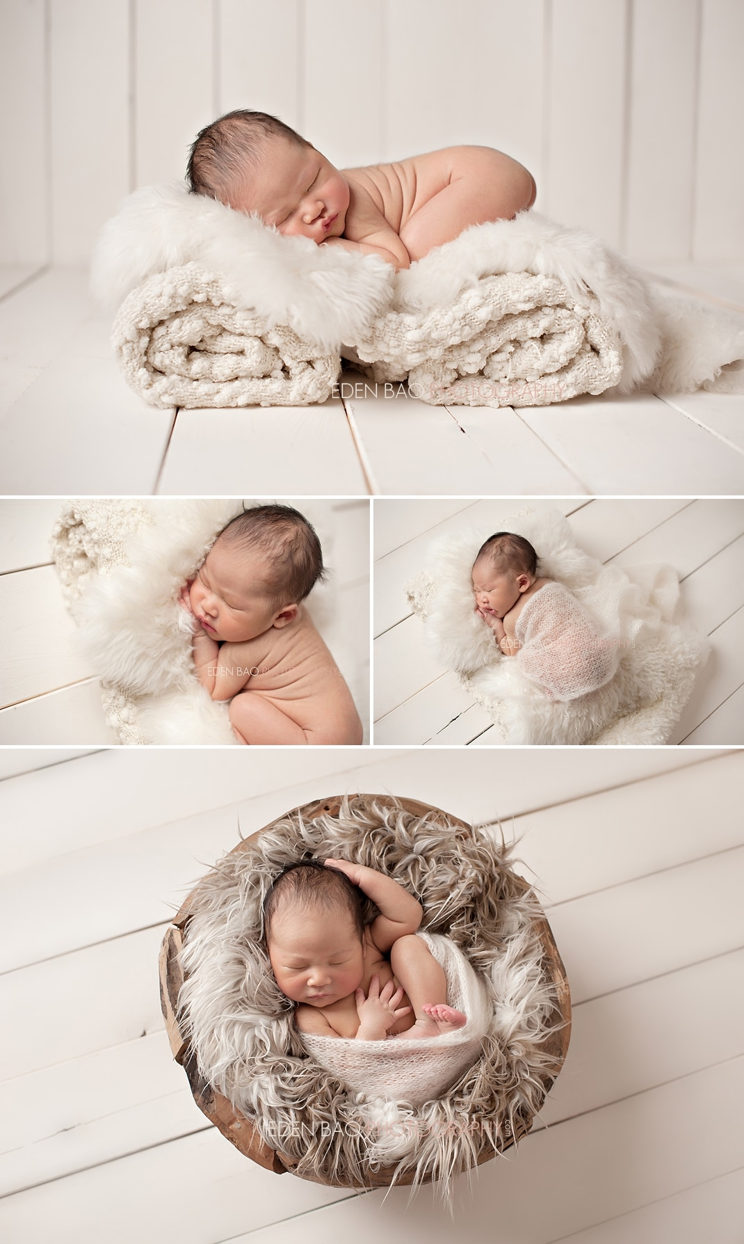 Vancouver BC Newborn Photographer Eden Bao | Newborn boy cream tone sheep rug wood plank