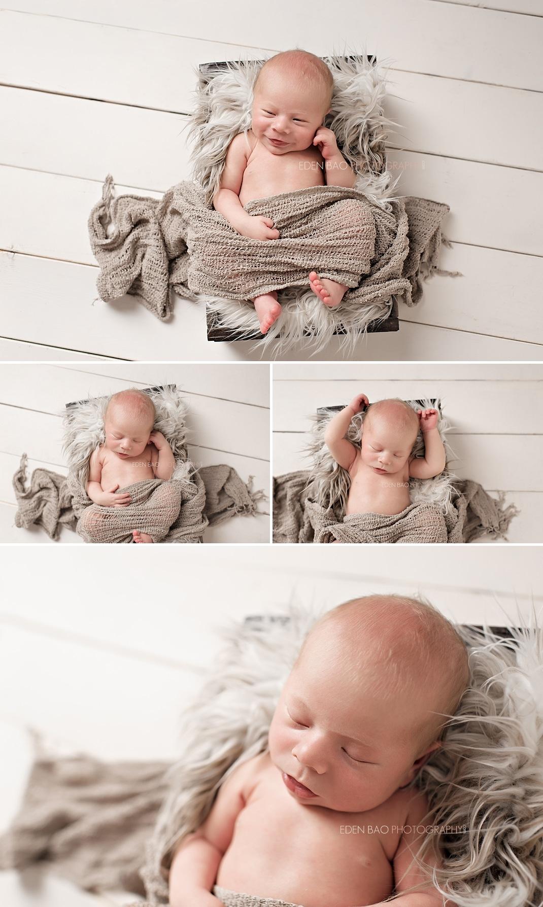 Burnaby BC Newborn Photographer Eden Bao Luka cream neutral fur in box wood planks