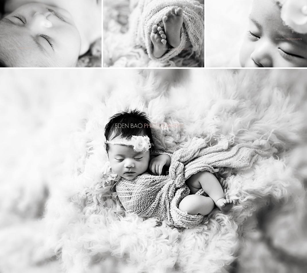 Burnaby Vancouver BC Newborn Photographer Eden Bao Euneek shaggy rug black and white