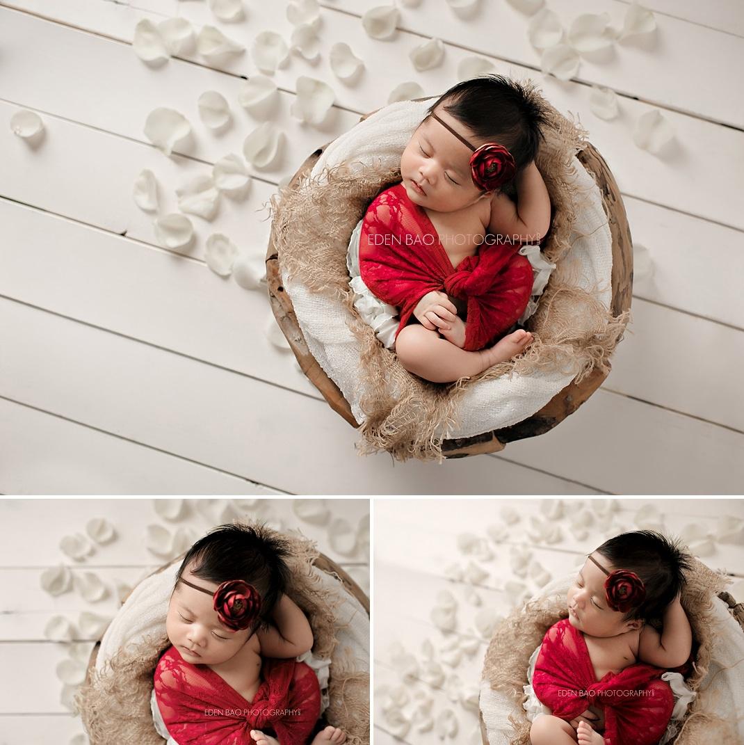 Burnaby Vancouver BC Newborn Photographer Eden Bao Euneek white flower petals white wood plank