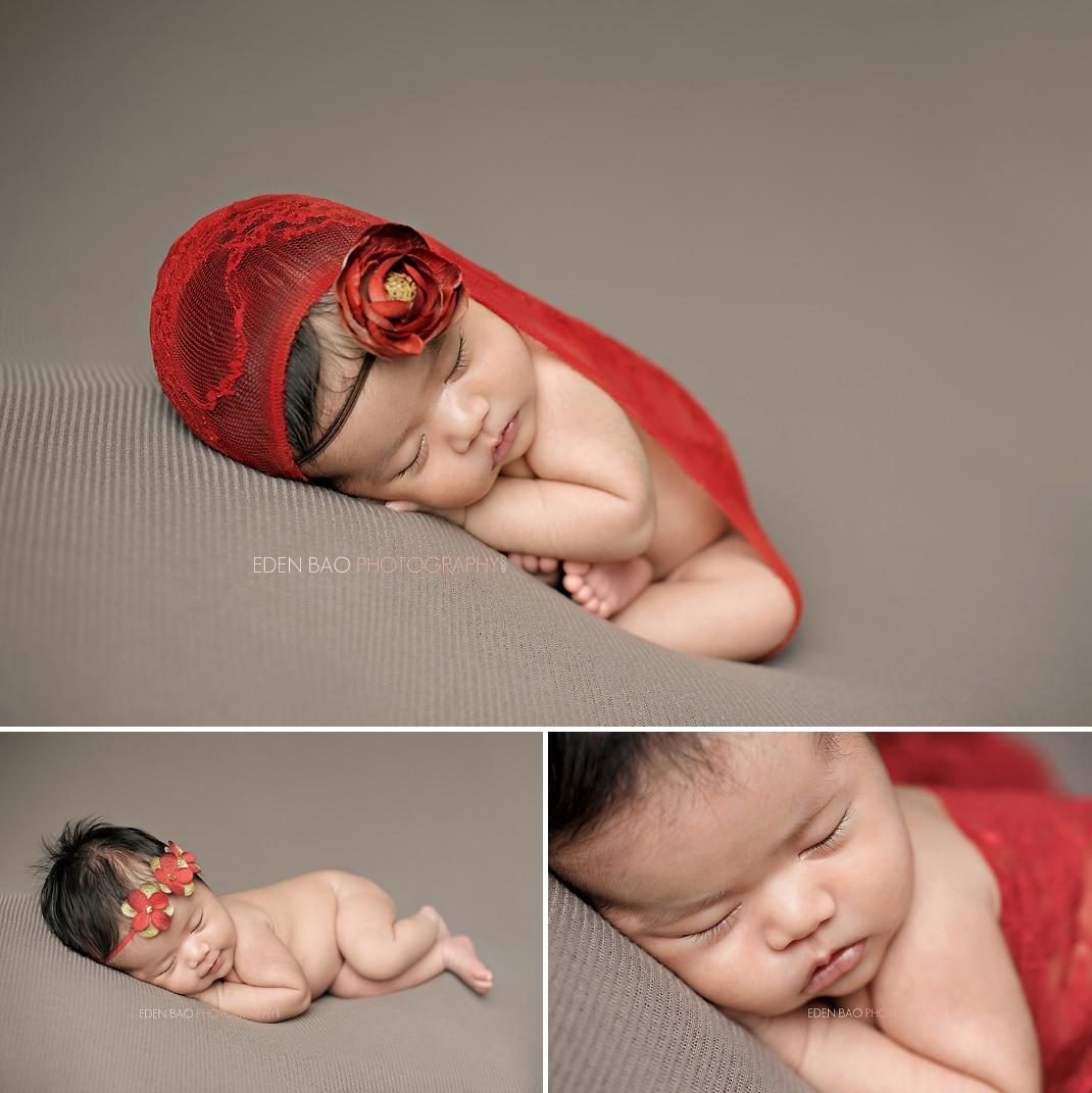 Burnaby vancouver bc newborn photographer eden bao euneek red lace wrap beige blanket