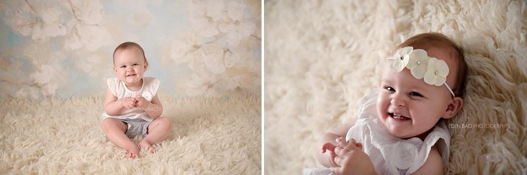Port Moody Vancouver BC Baby Photographer Eden Bao   Lily cream shaggy rug flokati