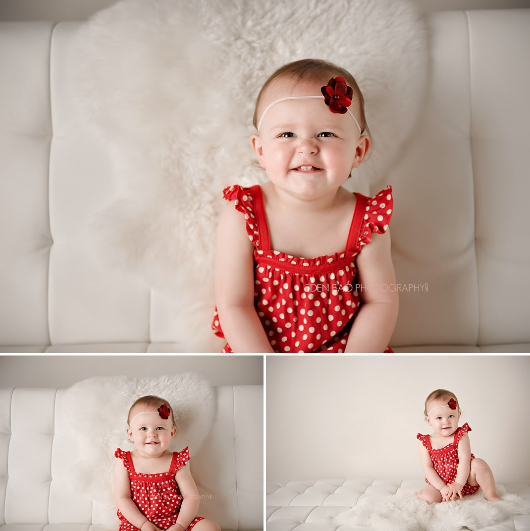 Port Moody Vancouver BC Baby Photographer Eden Bao   Lily red polka dot dress leather futon