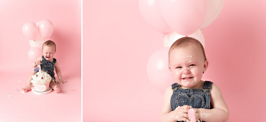 Port Moody Vancouver BC Baby Photographer Eden Bao   Lily pink balloon smash cake crying tears