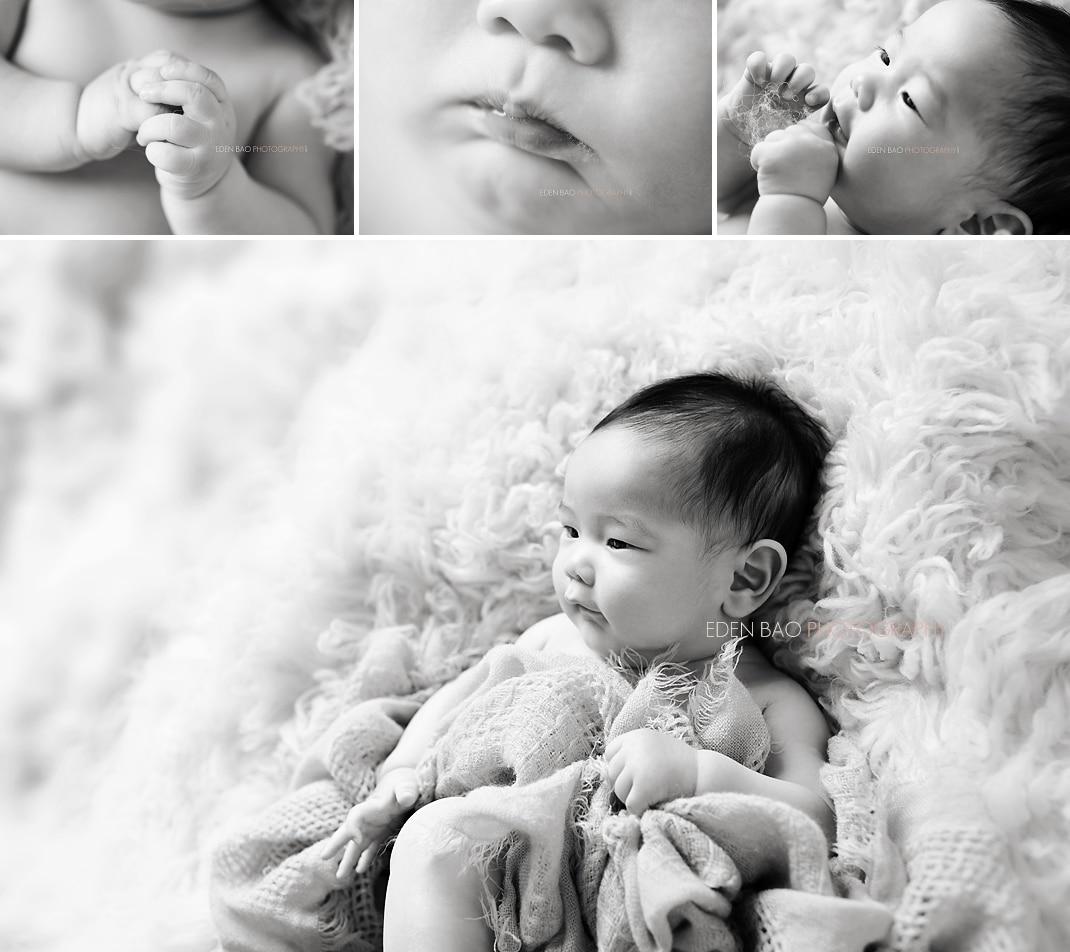 Richmond BC Baby Photographer Eden Bao Ryan 100-days BW
