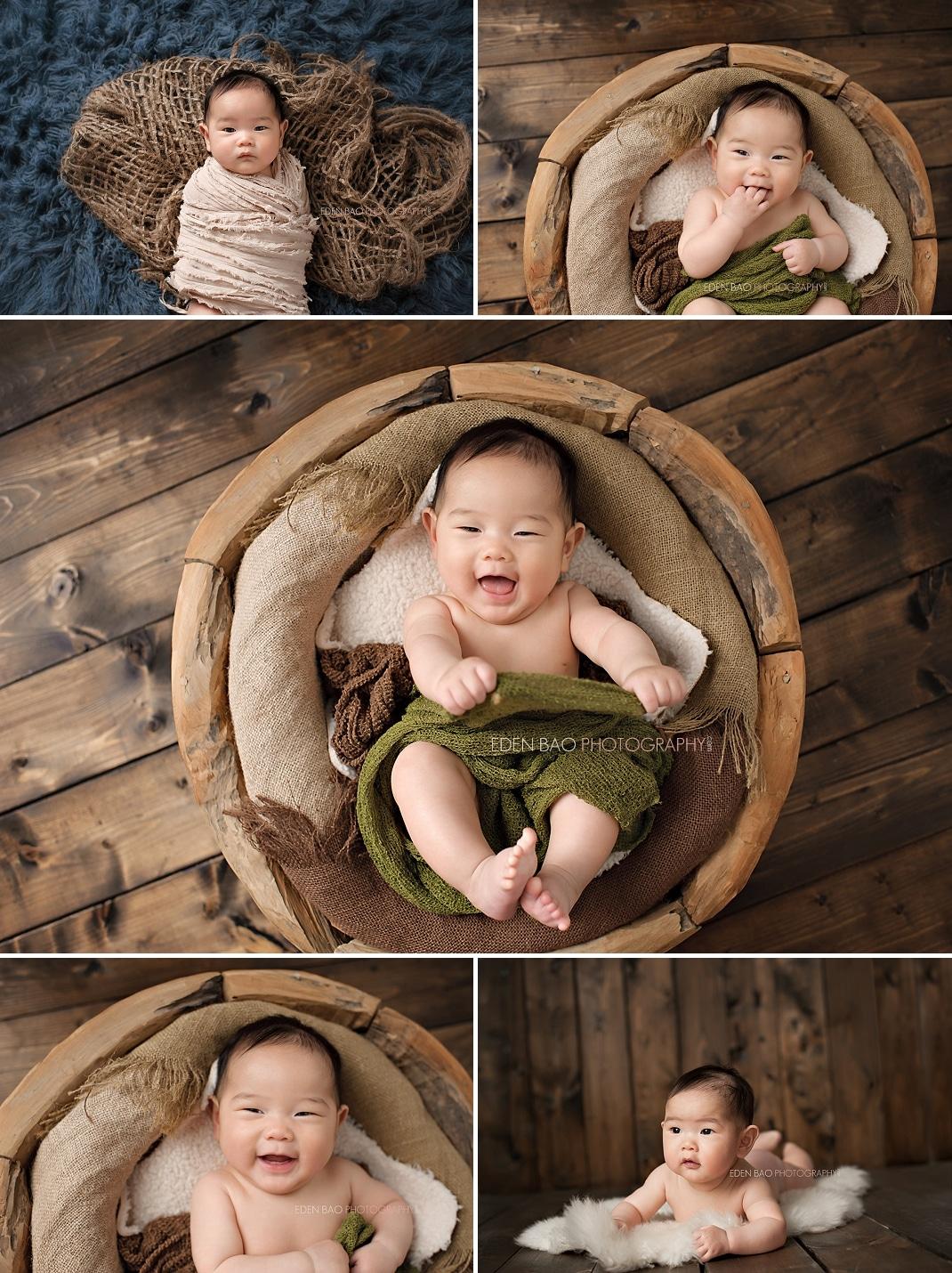 Richmond BC Baby Photographer Eden Bao Ryan 100-days Wood