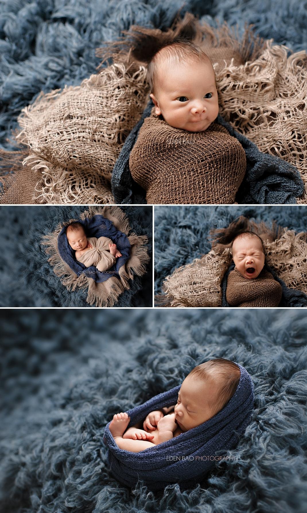 Richmond Vancouver BC Newborn Photographer Eden Bao Oliver blue shaggy rug flokati