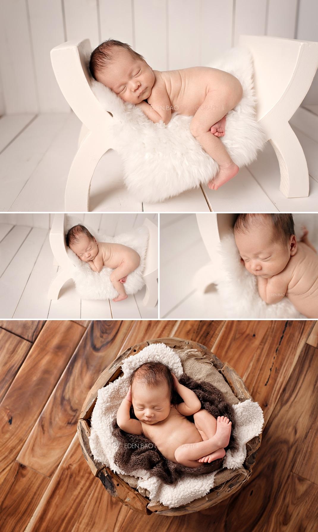 Richmond Vancouver BC Newborn Photographer Eden Bao Oliver neutral cream bench wood floor wooden bowl