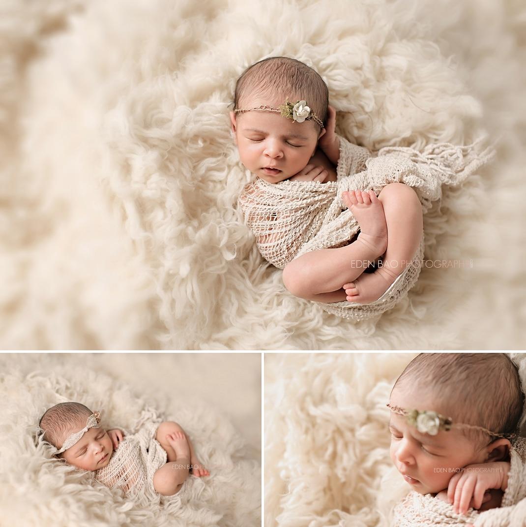 Richmond Vancouver BC Newborn Photographer Eden Bao South East Asian baby cream shaggy rug