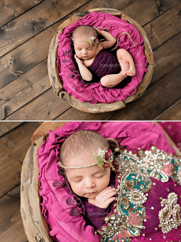 Richmond Vancouver BC Newborn Photographer Eden Bao South East Asian baby fuschia teal sari