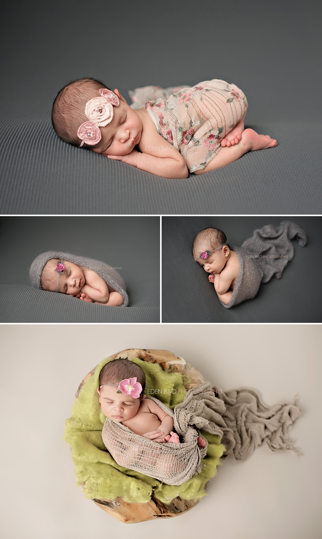 Richmond Vancouver BC Newborn Photographer Eden Bao South East Asian baby grey pink orchid