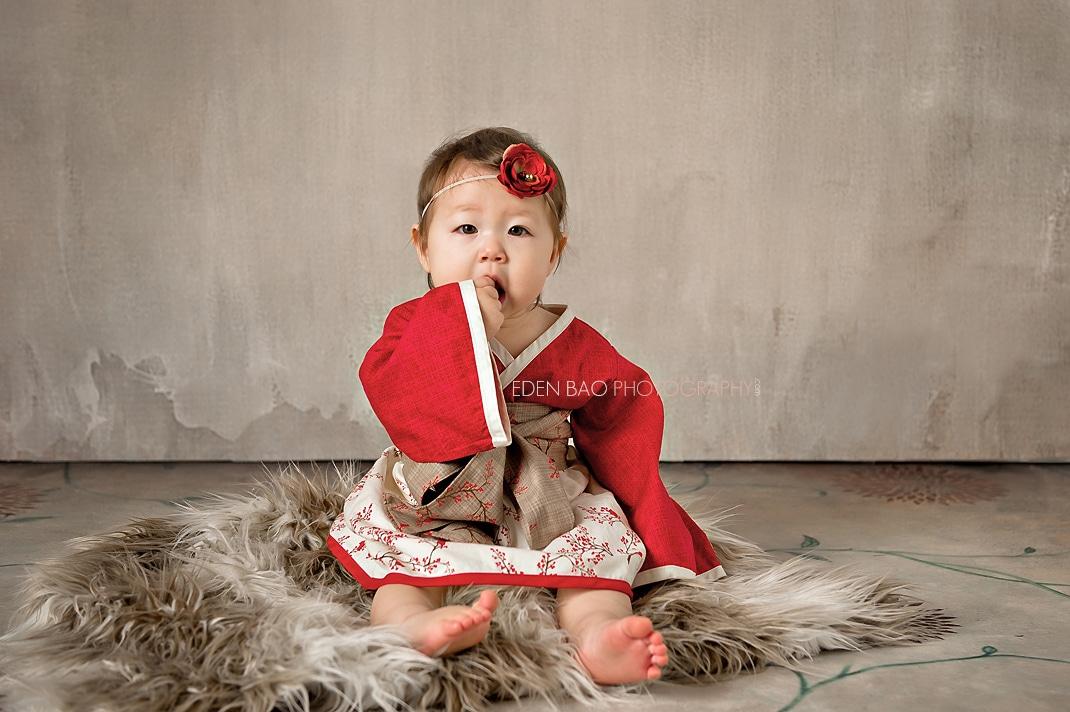 Vancouver BC Baby Photographer Eden Bao Bishop red kimono dress