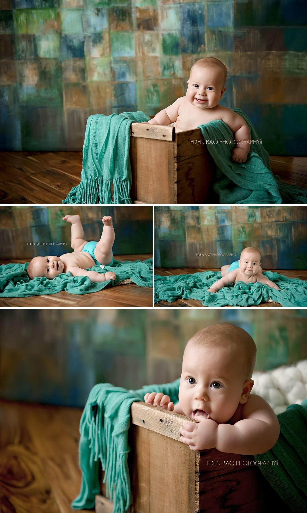 Vancouver BC Baby Photographer Eden Bao Blue teal color backdrop
