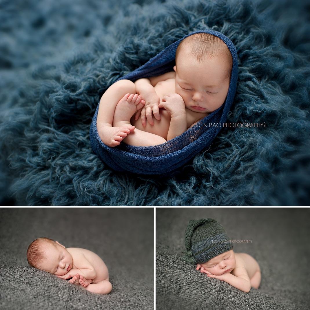 Vancouver BC Newborn Photographer Eden Bao denim flokati shaggy rug grey